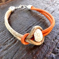 Bracelet fin femme en liège naturel orange