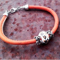 Bracelet champêtre fin orange