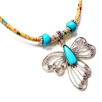 Collier grand Papillon Bleu