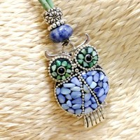 collier long liège grand hibou vintage tibétain