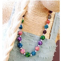 Collier fait main long sautoir multicolore réglable