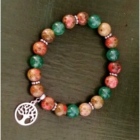 Bracelet artisanal -made in France--pierres naturelles aventurine -unakite--boutique bymademoisellef-Carcassonne-11000