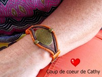 Bracelet orange bronze artisanal en liège, bijou naturel vegan