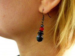 Boucles d'oreilles Pierre Hématite DISK and RED
