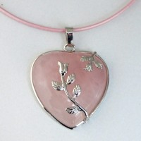 Collier COEUR d'AMOUR en quartz rose